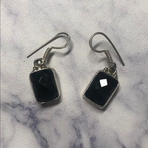 Jewelry - Sterling silver onyx earrings 💸 SOLD